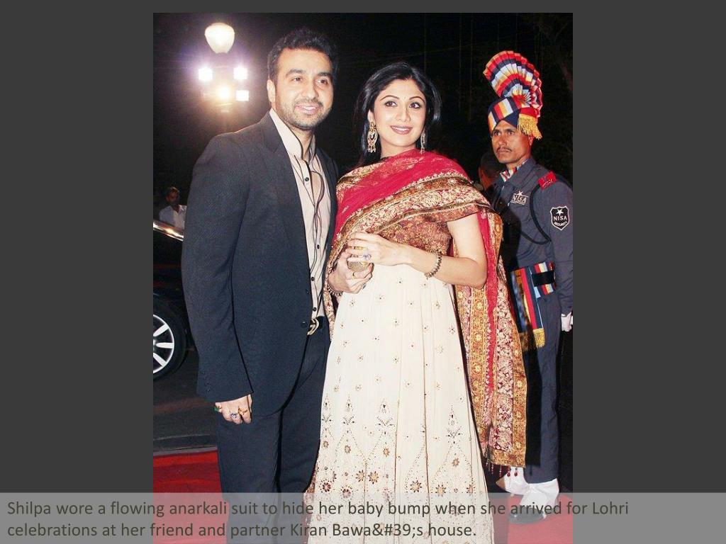 Shilpa wore a flowing anarkali suit to hide her baby bump when she arrived for Lohri celebrations at her friend and partner Kiran Bawa's house.