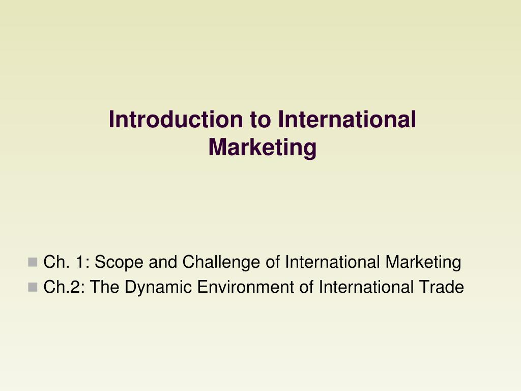 introduction to international marketing l.