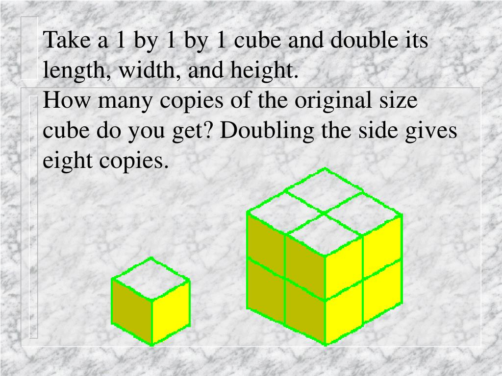 Take a 1 by 1 by 1 cube and double its length, width, and height.
