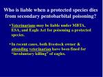 who is liable when a protected species dies from secondary pentobarbital poisoning