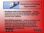 assistance in funding opportunities