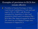 examples of provisions in ilca that remain effective