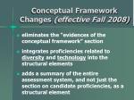 conceptual framework changes effective fall 2008