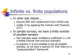 infinite vs finite populations
