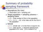 summary of probability sampling framework