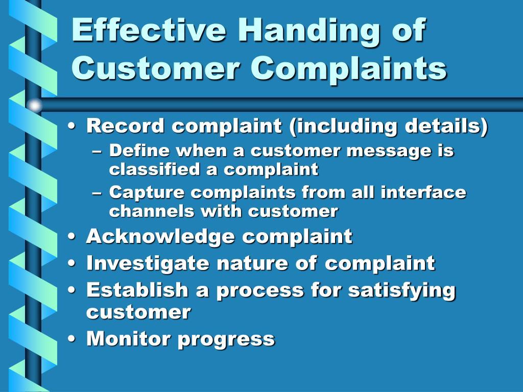 Effective Handing of Customer Complaints
