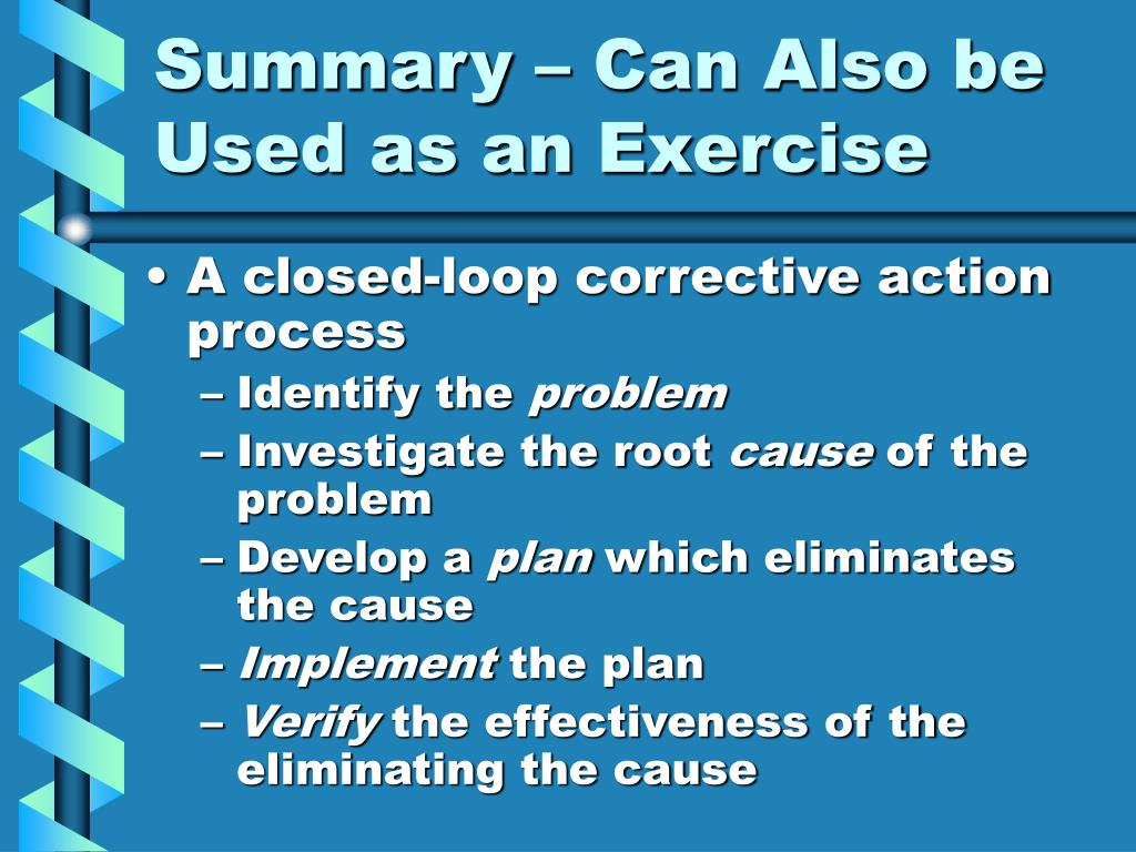 Summary – Can Also be Used as an Exercise