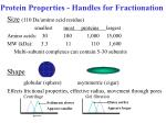 protein properties handles for fractionation