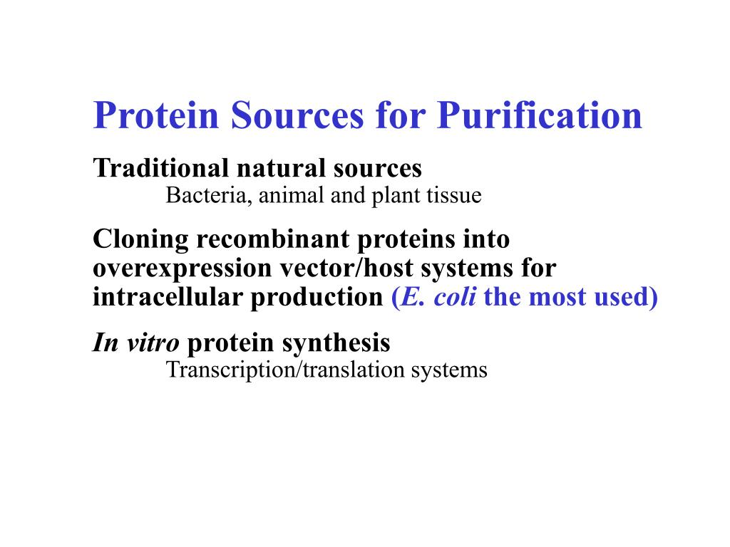 Protein Sources for Purification