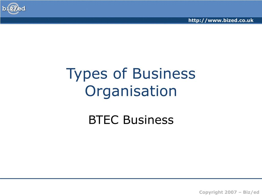 types of business organisation l.