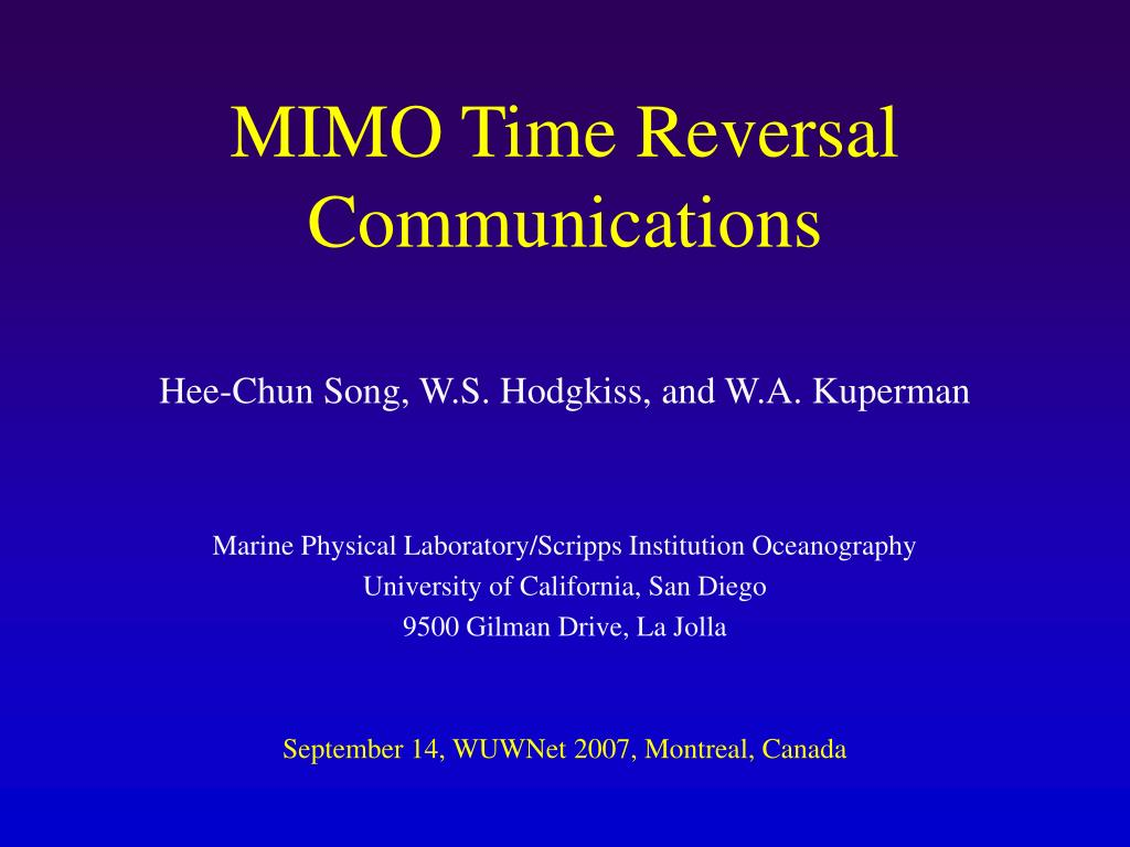 mimo time reversal communications l.