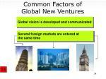 common factors of global new ventures