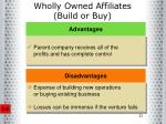 wholly owned affiliates build or buy