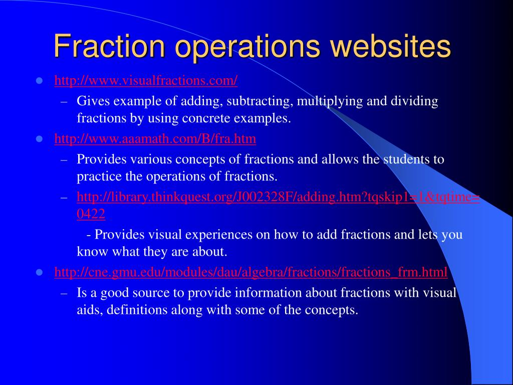 Fraction operations websites