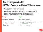 an example audit aswl append to string within a loop