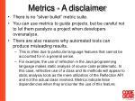metrics a disclaimer