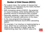 number of child classes nocc