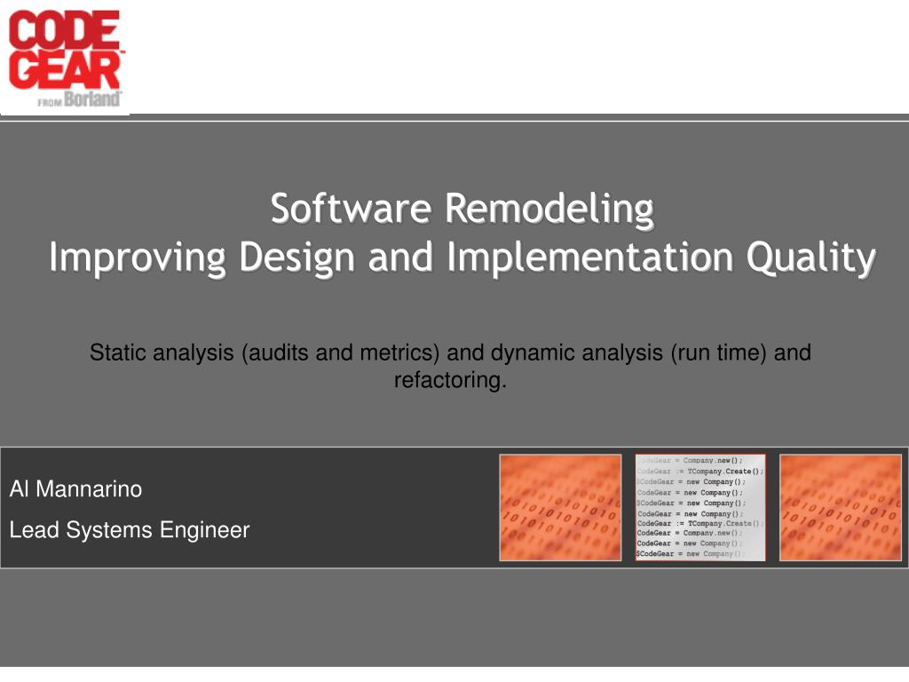 software remodeling improving design and implementation quality l.