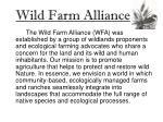 wild farm alliance