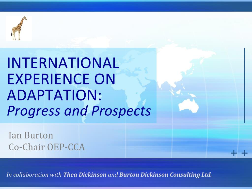 international experience on adaptation progress and prospects l.