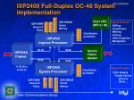 ixp2400 full duplex oc 48 system implementation