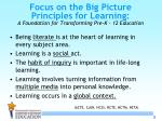 focus on the big picture principles for learning a foundation for transforming pre k 12 education