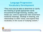 language progression vocabulary development
