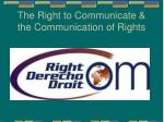 the right to communicate the communication of rights