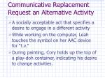 communicative replacement request an alternative activity