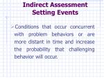 indirect assessment setting events