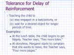 tolerance for delay of reinforcement