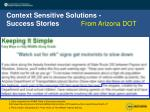 context sensitive solutions success stories
