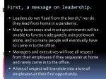 first a message on leadership