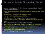 ten tips on pandemic flu planning from uk