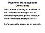 missions mandates and constraints