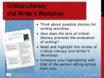 critical literacy and writer s workshop