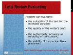 let s review evaluating49