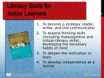 literacy goals for junior learners