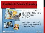 questions to promote evaluating74