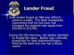 lender fraud