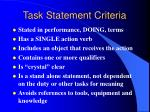 task statement criteria