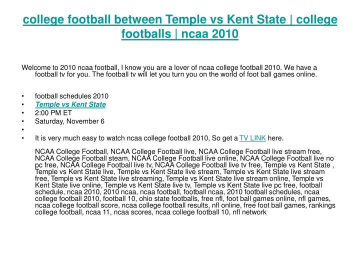college football between temple vs kent state college footballs ncaa 2010 n.