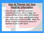 how id thieves use your personal information