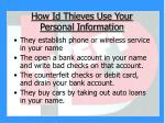 how id thieves use your personal information11