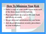 how to minimize your risk