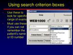 using search criterion boxes