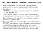 h5n1 avian flu as a candidate pandemic agent