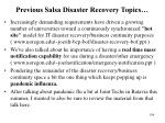 previous salsa disaster recovery topics
