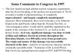some comments to congress in 1997