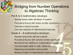 bridging from number operations to algebraic thinking
